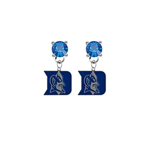 Duke Blue Devils Blue Crystal Stud Post Dangle - Devils Watch Duke Blue Sport