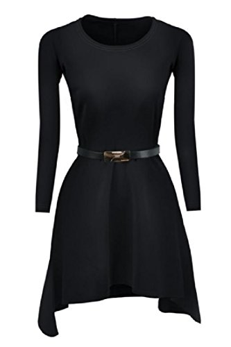 Top Tunic Fashion Fit Pockets Elegant Black Women's Pure Dress Color Comfy xa8OFZ