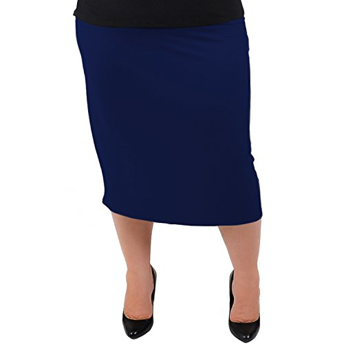 (Stretch is Comfort Women's Plus Size Comfortable Soft Stretch MIDI Skirt Navy Blue 3X)