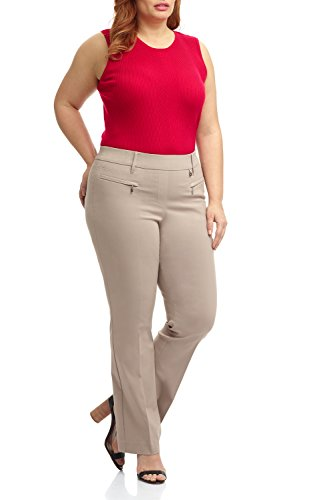 Rekucci Curvy Woman Bootcut Plus Size Pant with Zipper Pockets (20W,Khaki)