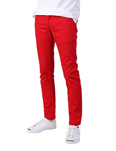 JD Apparel Men's Basic Casual Colored Skinny Fit Twill Pants 32Wx32L Red (Red Skinny Jeans For Men compare prices)