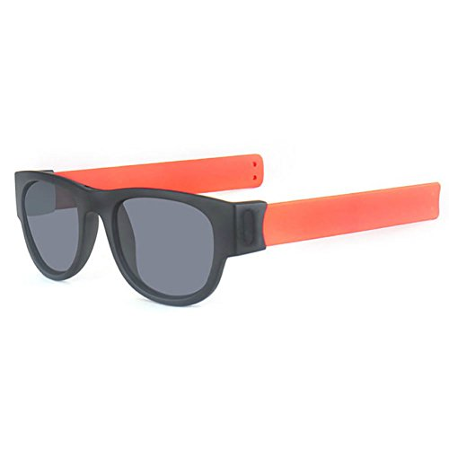 Best-topshop Slap Folding Polarized Sunglasses Creative Wristband Bracelet Bands for Driving Outdoor Sports, Orange - Sunglasses Slap
