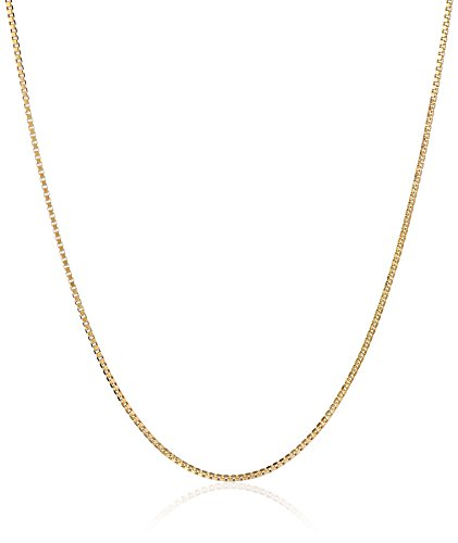 14k Gold Box Chain (14k Yellow Gold Solid Box Chain Necklace (.50mm), 18
