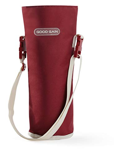 Good Gain Wine Tote, Insulated Single Bottle Wine Tote Carrier with Adjustable Shoulder Strap or Handle, Reusable Lightweight Portable Cooler Carrying Bag for BBQ Travel and Tasting Dinner Picnic(Red)