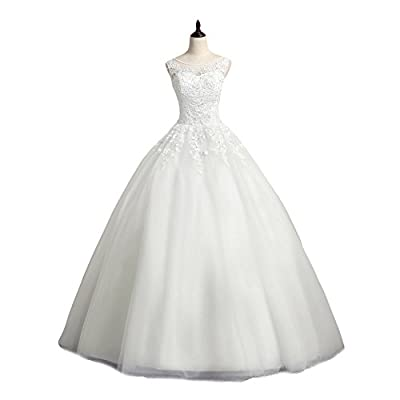 LMBRIDAL Women's Scoop Neck Ball Gown Wedding Dress Lace Bridal Gown WBD10