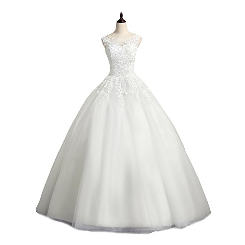 LMBRIDAL Women's Scoop Neck Ball Gown Wedding Dress Lace Bridal Gown White 16 by LMBRIDAL
