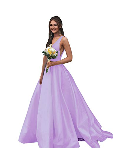 (Rjer V Neck Prom Dresses Long Stain Evening Ball Gowns for Women Formal 2019 with Pockets Lavender 4)
