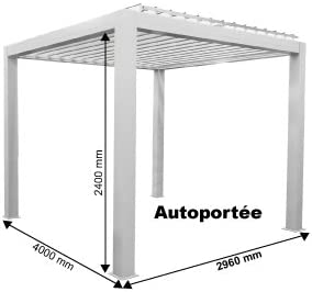 Pérgola bioclimática Grandlux de aluminio autoportante, motorizada con LED, 4 x 3 m, color Blanc ral 9016, tamaño 4000 x 3000 mm: Amazon.es: Jardín