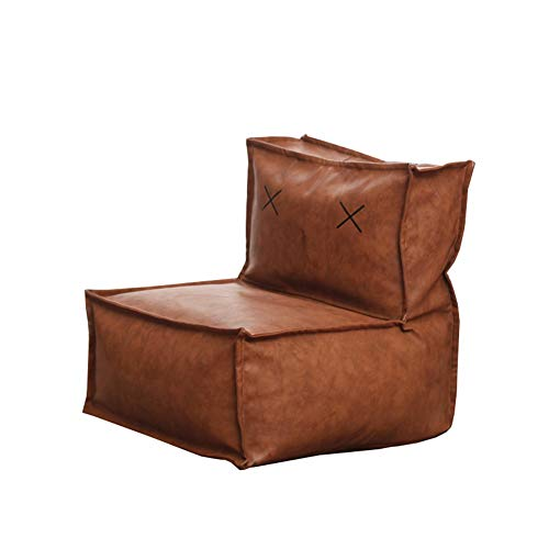 YJchairs Bolsa de Frijoles - Sofa Perezosa con Respaldo EPP Child Gaming Seat Silla Individual (Color : Brown PU Leather)