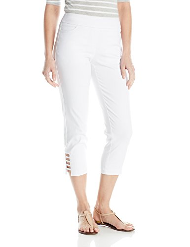 SLIM-SATION Women's Petite Size Pull On Solid Corp with Real Front & Back Pockets & Straps, White, 8