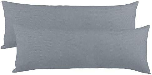 Celinatex BeNature, Funda de cojín, Juego de 2 Unidades, Cierre de Cremallera, algodón, 40 x 200 cm, Gris Oscuro
