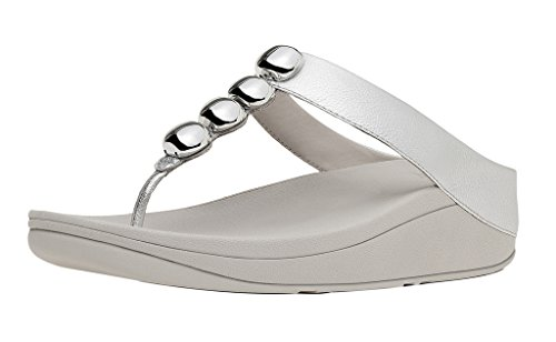 bd5e7cae2340b Galleon - FitFlop Trade  Womens Rola™ Leather Toe-Thong Sandals Silver Size  9