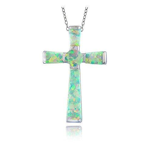 Glitzs Jewels Sterling Silver Simulated White Opal Cross ()