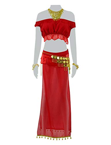 Price comparison product image Xiao Maomi Womens Sexy Off Shoulder Primrose Dress Tops Skirt Game Cosplay Costume Suits for Halloween Party Carnival Clothes (US Women-XS, Red)