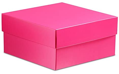 25ea 8 X 8 Hot Pink Lux Fld-Up Gift Box Lid-P Width 8