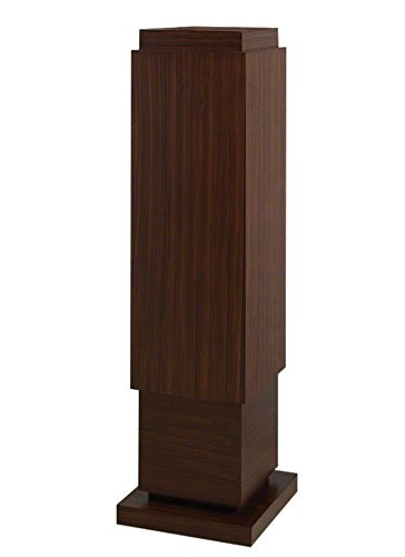 Elegant Tall Dark Wood Pedestal Shelf Wide Table Shelf Zebra