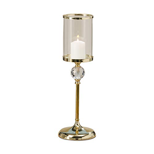 WHW Whole House Worlds The Grand Hotel Crystal Ball Pillar Candle Holder with Glass Sleeve, Gold Aluminum Nickel, 25 1/2 Inches Tall, 2 Piece Set
