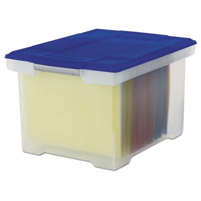 (Plastic File Tote Storage Box, Letter/Legal, Snap-On Lid, Clear/Blue, Sold as 1 Each)