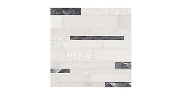 12x18 Moderno Blanco Interlocking Pattern 8mm Glass Stone Metal Blend Mosaic Tile