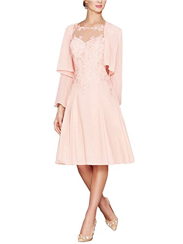 (APXPF Women's Tea Length Lace Chiffon Mother of The Bride Dresses Two Pieces with Jacket Pink US16 )