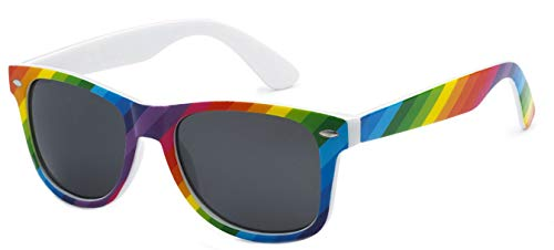Sunglasses Classic 80's Vintage Style Design (Rainbow, Smoke) -