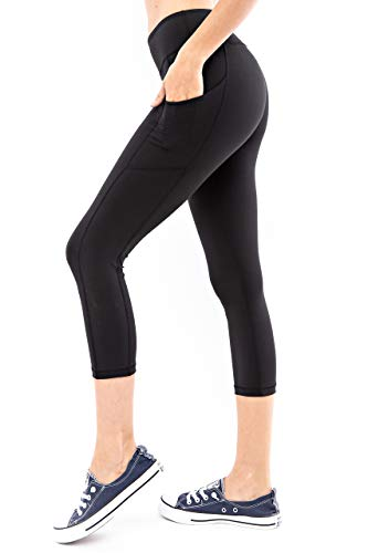 Another Day Women's High Waisted Active Casual Wear Capri Length Yoga Leggings with Side Pockets (S-3X) Black