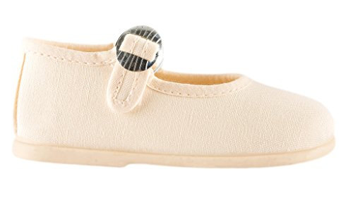 Bone Kid Footwear - Namoo Kids Canvas Mary Jane, Cotton and Rubber Sole, Baby/Toddler/Kid Shoe (Bone, 6 M US Toddler)