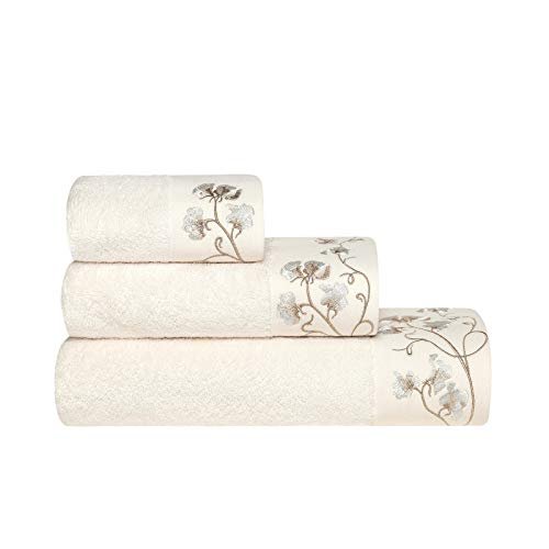Togas Ecru Cotton/Rayon from Bamboo Towel Set Celeste