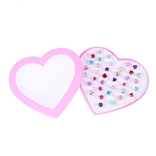 (Amosfun Child Rings Set Crystal Rings Set Dress Up Ring Gift with Heart-Shaped Boxes for Kid Girl Child 36pcs)