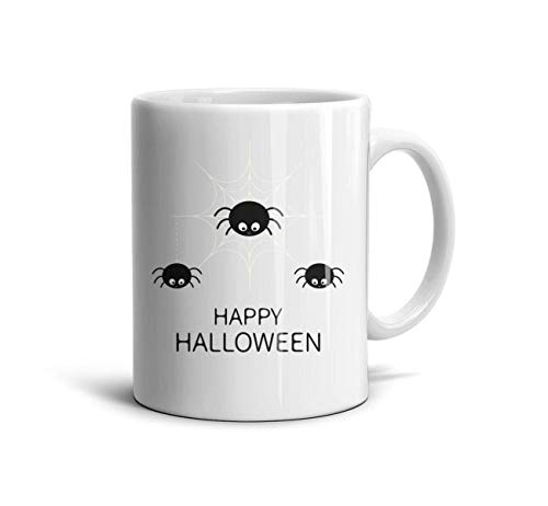 GholoMez 1 Pack Home Happy Halloween Spider 11 Ounces/350ML Coffee Mugs Home Special Funny Special Day Gift Tea Mug Drink Cup for Women