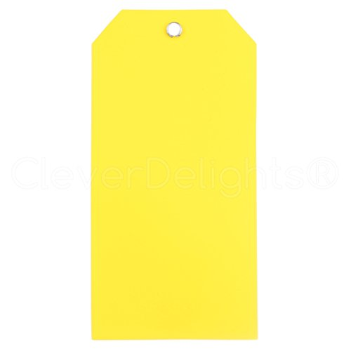 (50 Pack - CleverDelights Yellow Plastic Tags - 4.75