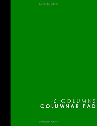 6 Columns Columnar Pad: Accountant Notebook, Accounting Pad, Ledger Journal Book, Green Cover, 8.5