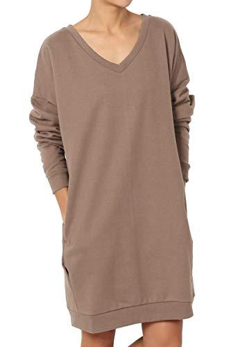TheMogan Women's Casual V-Neck Pocket Loose Sweatshirt Tunic Mocha S/M