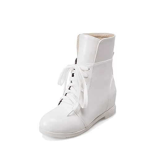 AllhqFashion Womens Closed Round Toe Low-Top Kitten Heels Solid PU Boots White NkZts9yD