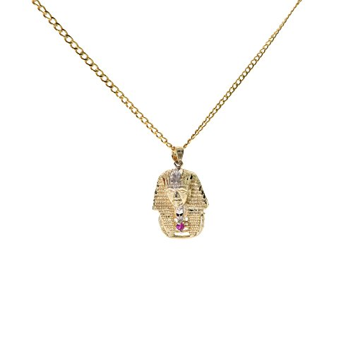 Genuine Stamped 10K Yellow Gold Cuban Curb Link Chain Small Charm Pendant Necklace [ASSORTED SETS] (Pharaoh King Tut + 20 Inches Necklace) by Traxnyc