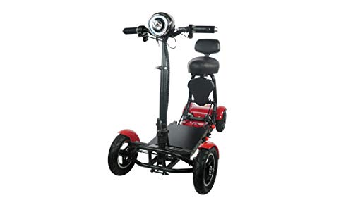 Foldable Lightweight Power Mobility Scooters Easy Travel Electric Wheelchair Multi Terrain Scooter for Adults with Child Seat - Compact Heavy Duty Mobile for Travel, Adults, Elderly (Red)