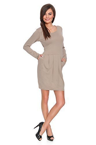 futuro fashion Subtil Damen Party Mini Kleid mit langärmlig Baumwollgewebe Tulpe  Tunika Größen 8-18