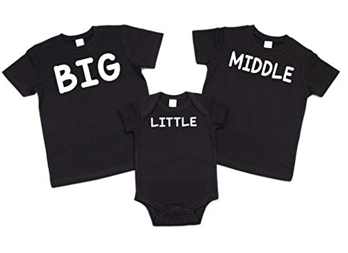- 3 Sibling Shirts Set Big Middle Little Shirts- Pick Each Color
