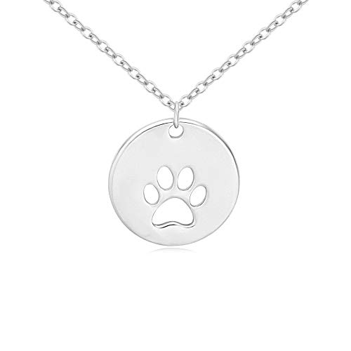 NOUMANDA Fashion Dog Paw Necklace Cute Small Animal Pet Forever Love Pendant Jewelry (Silver)