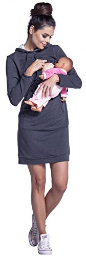 Zeta Ville - Premamá Vestido sudadera de lactancia efecto en capa - mujer - 208c Grafito Mezcla