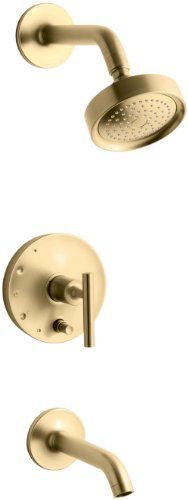 KOHLER K-T14420-4-BGD Purist Rite-Temp Pressure-Balancing Bath and Shower Faucet Trim with Push-Button Diverter and Lever Handle, Valve Not Included, Vibrant Moderne Brushed - Gold Rite Balancing Pressure Temp