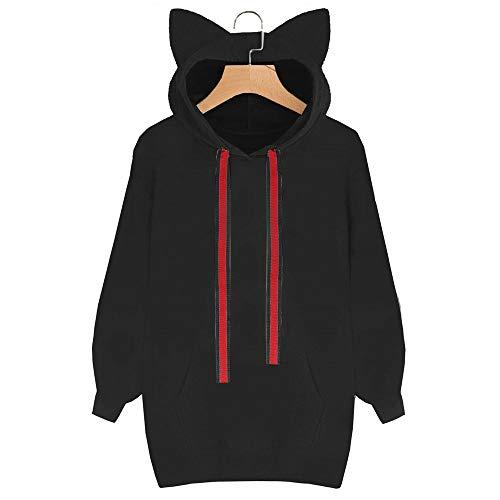 Sweater Ms A Nero Cappuccio Cappuccio Cat Per Gatto Maglia Lunghe Vovotrade❤ Felpa Con Maniche wpExE