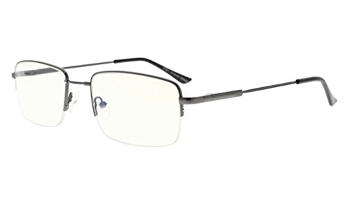 Eyekepper Half-rim Reading Glasses-Blue Light Blocking-Reduced Eye Strain-Memory Computer Glasses Titanium Readers Men, Transparent Lenses - Half Eye Glasses