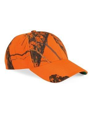 Orange Camo Cap - Outdoor Cap - Classic Twill Cap - 350 - Adjustable - Mossy Oak Break-Up Blaze Orange