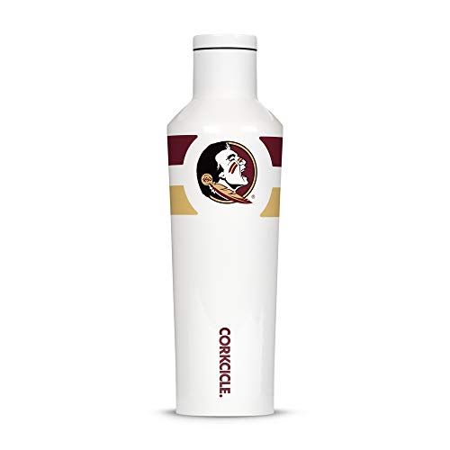 - Corkcicle  Canteen - 16oz NCAA Triple Insulated Stainless Steel Water Bottle, FSU - Florida State University Seminoles, Gym Stripe