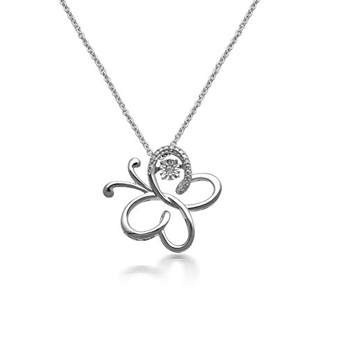 Jewelili Sterling Silver Diamond Accent Butterfly Pendant Necklace 18