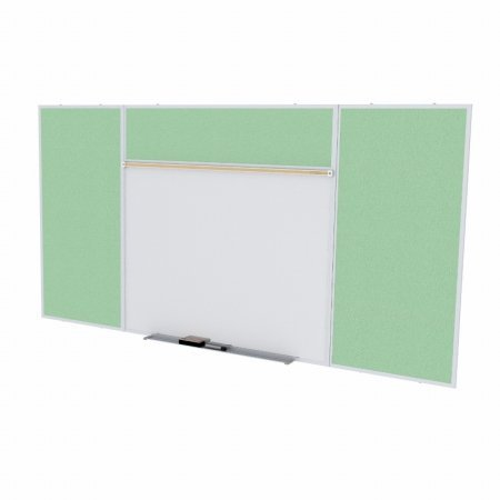 Ghent SPC416E-V-189 4 ft. x 16 ft. Style E Combination Unit - Porcelain Magnetic Whiteboard and Vinyl Fabric Tackboard - Mint by Ghent
