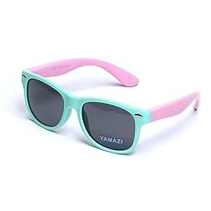 YAMAZI Kids Polarized Sunglasses Sports Fashion For Boys And Girls Mirrored Lens (Mint Green&Pink, Gray)