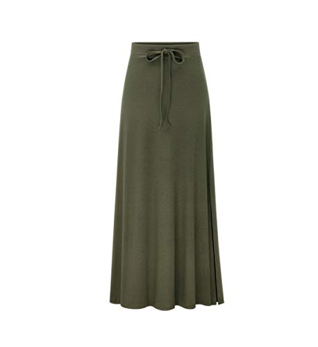 Haute Fit Casual Maxi lasticit Longue Slim Army Jupe Jupe Jupe Taille Green Droite Femme v0Zq4zxI