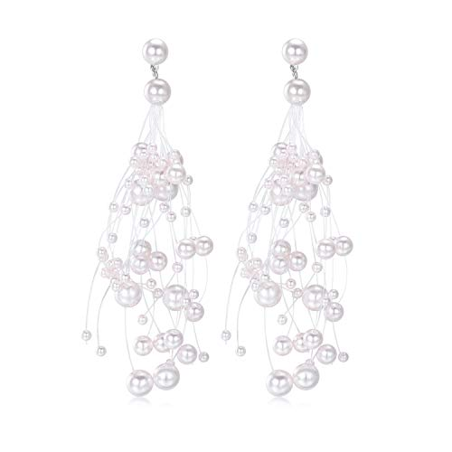 eb972fbbf Long Drop Pearl Tassel Earring - 14k White Gold Plated Bead Pearls Fish  Line with White CZ Earrings for Women (Pink)